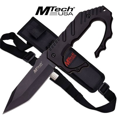 Fixed Blade Knuckle Handle Tactical Knife - Black Handle Tanto Blade