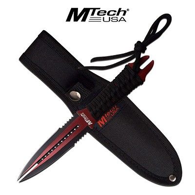 "8.5"" Red Black Double Edge Blade Dual Tip Wasp Knife Fixed Blade Dagger"