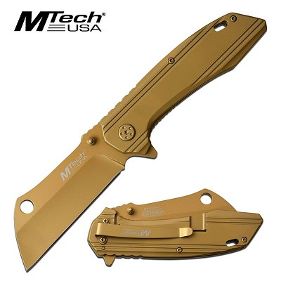 Mtech Copper Titanium Cleaver Blade Spring Assisted Tactical Folding Knife
