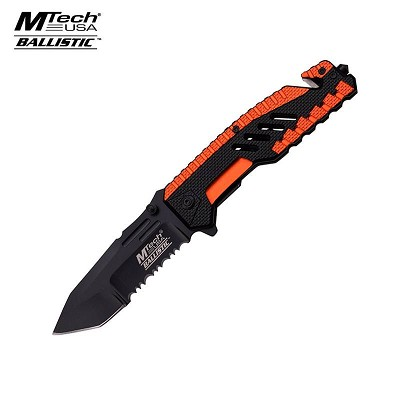 MTech Ballistic Spring Assisted Knife 4.75 Inches With Orange Handle