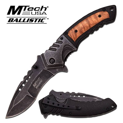 MTech Spring Assisted Knife 5 Inches Closed With Shadow Wood Handle