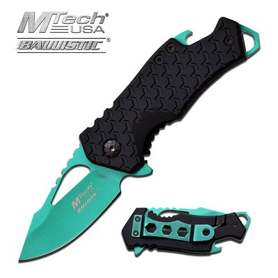 3 Inches Assisted Opening Knife Green Blade and Black Handle