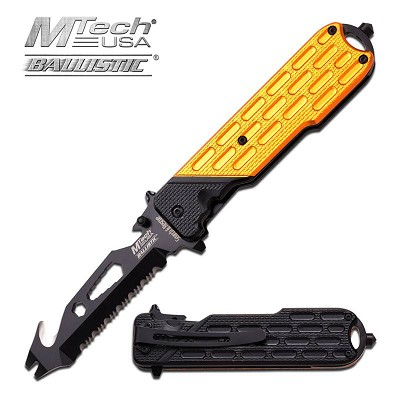 MTech USA Spring Assisted Knife 4.75 Inches With Yellow & Black Handle