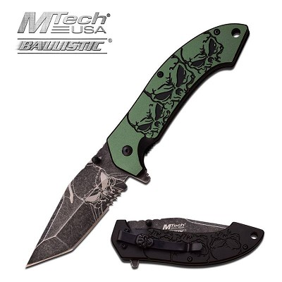 MTech USA Ballistic Skull Pattern Spring Assisted Knife Turquoise Aluminum Handle