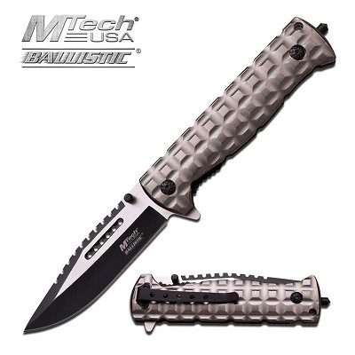 Mtech Ballistic 9 Inch Open Length Grey Spring Assisted Folder Knife