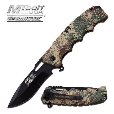 Mtech USA Ballistic 4.75 Inch Closed Digital Camo Handle Assisted Opening Spring Knife