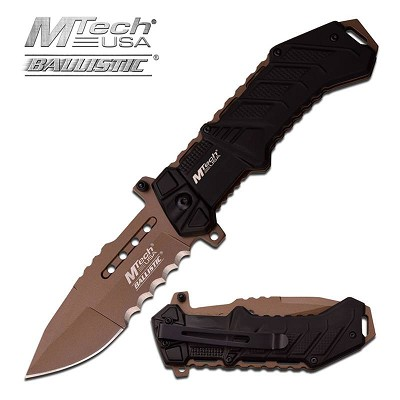 MTech USA Ballistic 3.75 Inch Blade Spring Assisted Knife Tan Blade