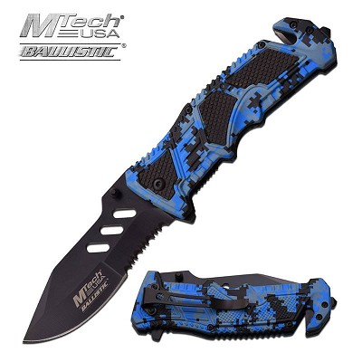 MTech Tactical 4.75 Inch Spring Assisted Knife Blue Digital Camo