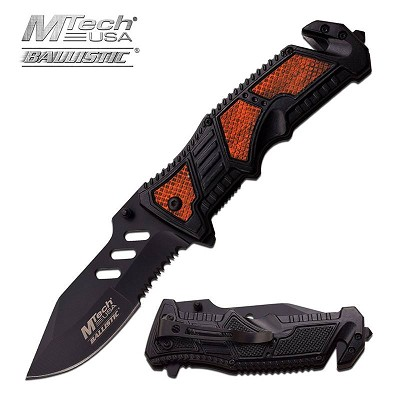 MTech Tactical 4.75 Inch Spring Assisted Knife Wood Insert