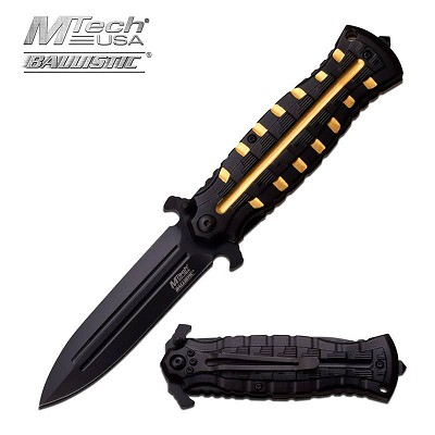 MTech USA Ballistic Dagger Style Spring Assisted Knife Black Gold