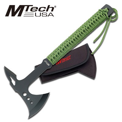 Zombie Killer Tactical Throwing Axe Hatchet Green Cord Wrapped Handle