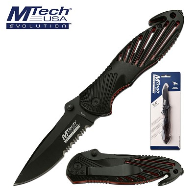 Mtech Rescue Pocket Knife  Spring Assis Folder Black Handle in Clamshell