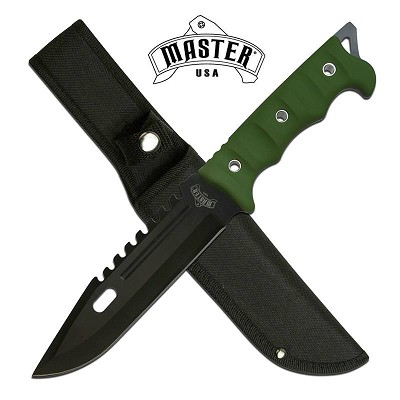 "11.75"" Fixed Blade Full Tang Hunting Knife Green Handle"