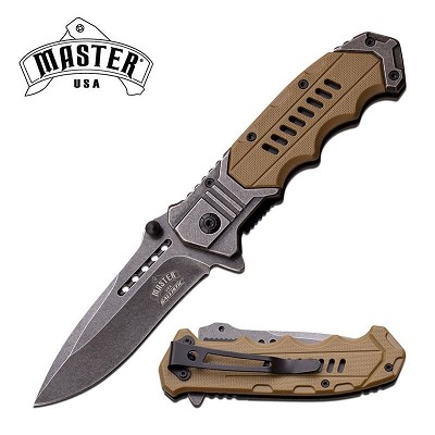Master USA Ballistic 4.75 Inch Spring Assisted Knife Desert Tan