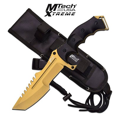 Gold MTech Xtreme 5mm Thick Blade Hunting Tactical Military Knife Fixed Blade
