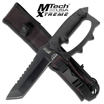 Full Tang Knuckle Handle Tactical Combat Fighter Knife With Sheath