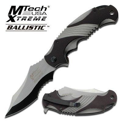 Mtech Xtreme Ballistic Spring Assisted Opening Folding Knife - Black/Grey Handle