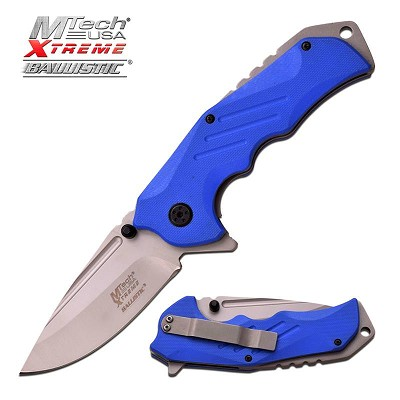 MTech Xtreme Black Drop Point Blade Spring Assisted Knife Blue