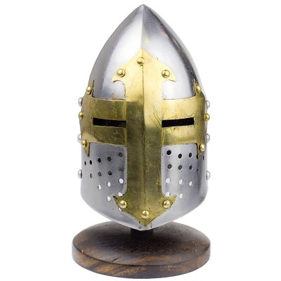 Miniature Brass Crusader Great Helmet Display Collectible With Stand