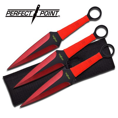 Perfect Point 3 Piece Throwing Knife Set - Red Grinding Line Blade