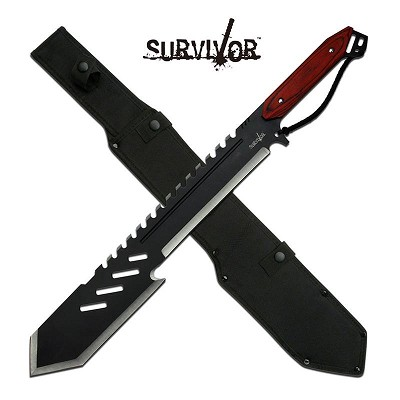 "25.5"" Full Tang Outdoor Machete Knife Pakkawood Handle"