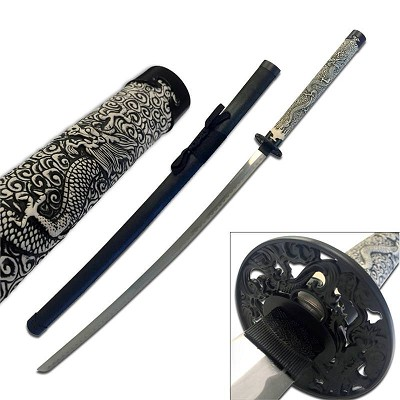 41 Inch Overall Length Samurai Sword with Black Scabbard
