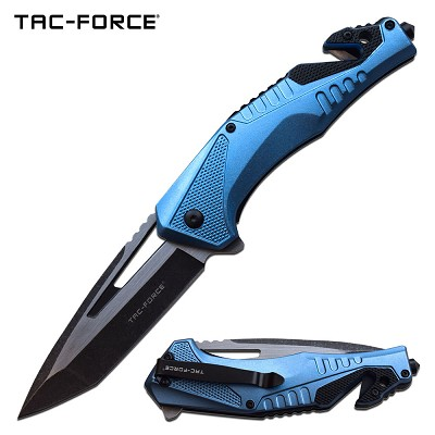 Tac Force Tactical Knife Spring Assisted Knife Blue Black Pocket Knife