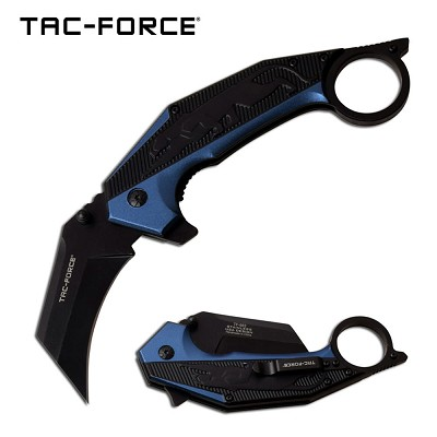 Jaguar Claw Karambit Style Spring Assist Knife Blue and Black