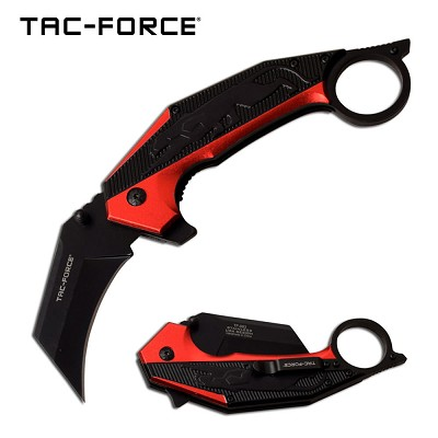 Jaguar Claw Karambit Style Spring Assist Knife Red and Black