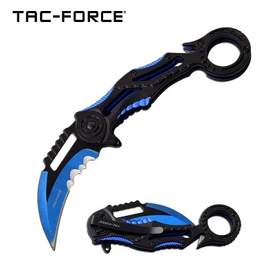 Karambit Style Ring Handle Spring Assist Pocket Knife Blue and Black