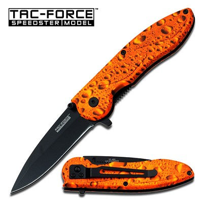 "Tac Force Orange Raindrop Knife Assisted Opening Knife 4 1/2"" Closed"