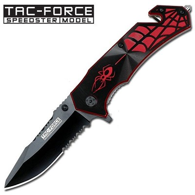 Black Spider Handle Design Rescue Folder Spring Assist Knife