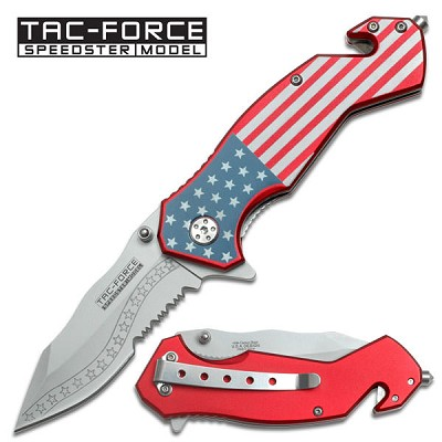Tactical Rescue Folder Spring Assisted Knife - USA Flag