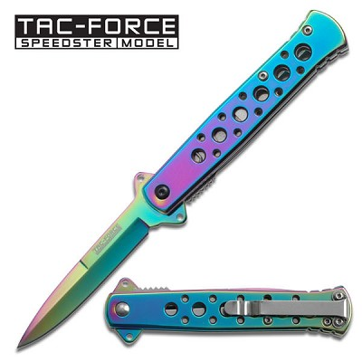 Spring Assist - 'Legal Auto Knife' - Rainbow Stiletto