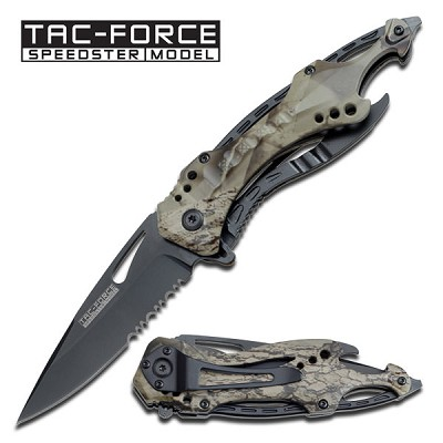 """ Sports Bike Handle "" Spring Assisted Knife - Grey Camo"