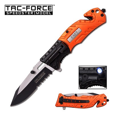 Tac Force 4.5 Inches Orange Black Spring Assisted Opening Knife