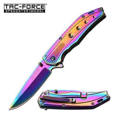 "Tac Force 4.5"" Closed Tactical Rainbow Spring Assist Knife Slim Blade"