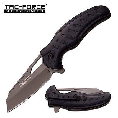 Tac-Force Black PakkaWood Gray Blade Cleaver Spring Assist Knife