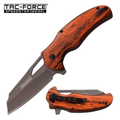 Tac-Force Brown PakkaWood Gray Blade Cleaver Spring Assist Knife