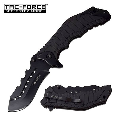 "8.25"" Black Tactical Survival Spring Assisted Open Folding Pocket Knife"