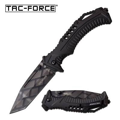 8.75 Inch Spring Assisted Folding Knife with Diamond Design Tanto Point Blade