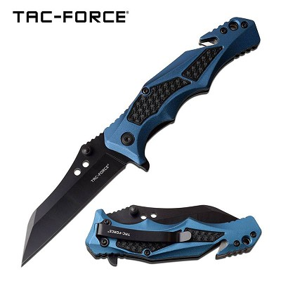 Blue And Black handle Spring Assisted Folding Pocket Knife Tactical blade