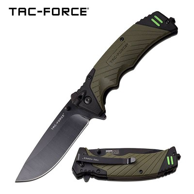 Tac-Force Spring Assisted Folding Pocket Knife With Survival Whistle Green