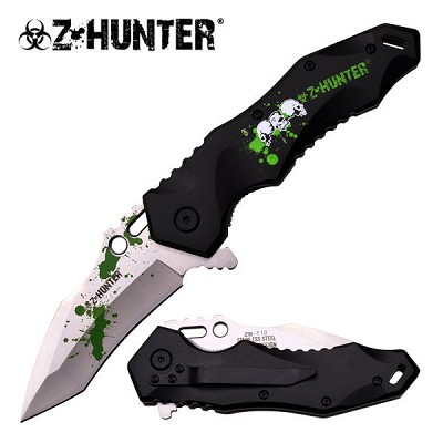 Z-Hunter Fantasy Assisted Opening Pocket Knife - Green Zombie Logo Handle