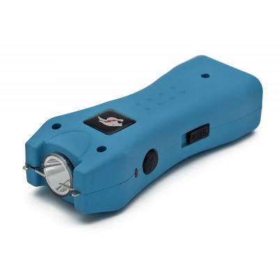 Slim Max Power Blue Stun Gun Mini Rechargeable, LED Light & Case