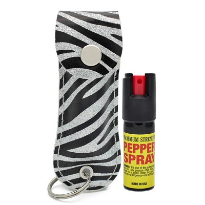 Snake Skin Pattern Personal Defense Pepper Spray OC-18 1/2 oz - Zebra