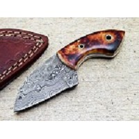 Damascus Steel Hunting Mini Skinning Sheepsfoot Knife Bone Handle 5.5