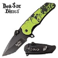Spring Assisted Knife Green Skull EDC Pocket Knife
