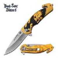 Dark Side Blades Tactical Skull Handle Spring Assisted Pocket Knife Gold