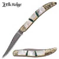 Elk Ridge Manual Folding Toothpick Blade Knife Mother of Pearl Stone Handle